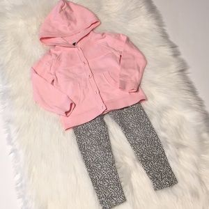 Tommy Hilfiger hooded pink sweater/leopard legging